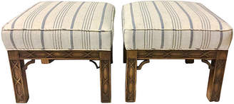 One Kings Lane Vintage Chinese Chippendale Style Ottomans - Set of 2 - Von Meyer Ltd.