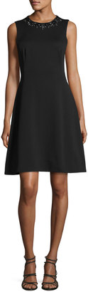 Maggy London Embellished Fit & Flare Scuba Dress, Black $99 thestylecure.com
