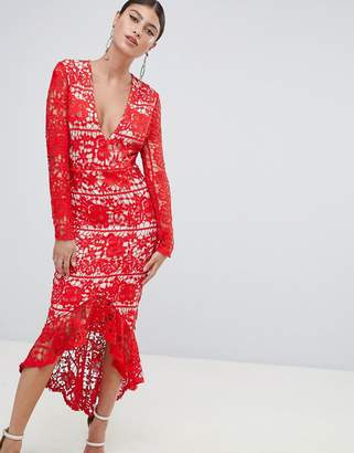 Missguided Long Sleeve Lace Fishtail Midi Dress