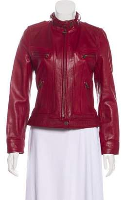 Dolce & Gabbana Leather Stand Collar Jacket