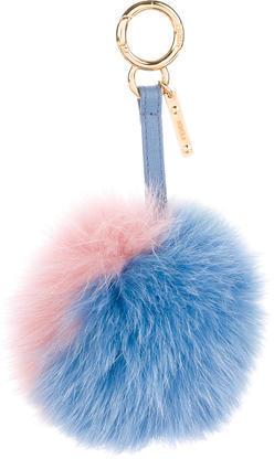 FendiFendi Tri-Color Fox Fur Pom Pom Charm
