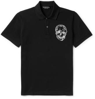 Alexander McQueen Slim-Fit Embroidered Cotton-Piqué Polo Shirt