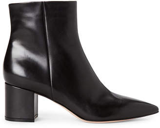 Gianvito Rossi Black Piper Pointed Toe Leather Booties