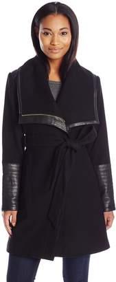 Badgley Mischka Belle Women's Lorian Wool Coat with Faux Leather Trim