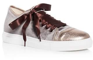Nell Aska Velvet Cap Toe Lace Up Sneakers