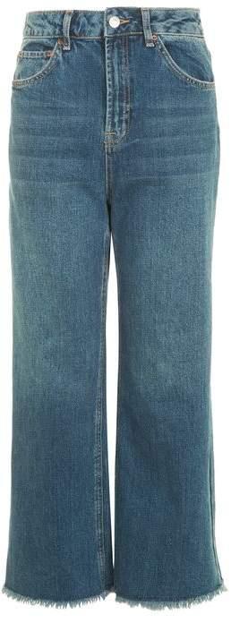TopshopTopshop Moto vintage blue cropped wide leg jeans