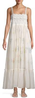 Love Sam Floral Embroidery Cotton & Silk-Blend Maxi Dress