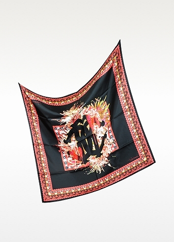 Roberto Cavalli Black and Red Signature Silk Square Scarf