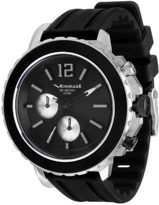 "Vestal Men's YATCS03 ""Yacht"" Stainless Steel Watch with Black Silicone Band"