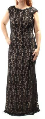 Betsy & Adam Womens Lace Fringed Cap Sleeve Boat Neck Full Length Mermaid Formal Dress US Size: