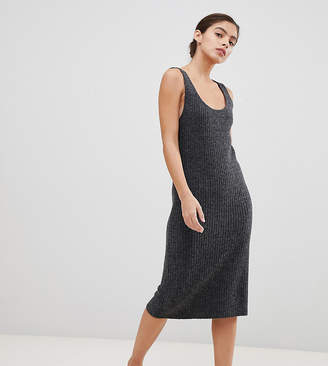 Micha Lounge Luxe midi dress with scoop neck in rib knit