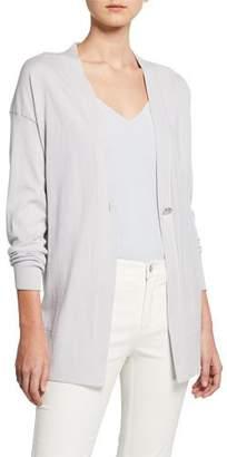 Lafayette 148 New York Cotton & Cashmere Long-Sleeve Single-Button Cardigan
