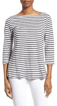 Women's Eileen Fisher Stripe Linen Tee $138 thestylecure.com