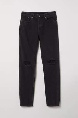 H&M Boyfriend Low Ripped Jeans - Black