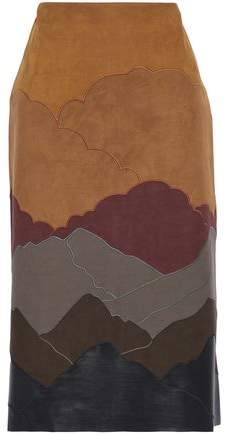 Embroidered Faux Leather And Suede Skirt