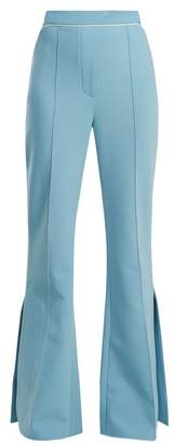 Ellery Orlando Mid Rise Flared Crepe Trousers - Womens - Light Blue