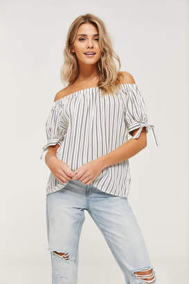 890869524e468 Ardene Striped Short Sleeve Off Shoulder Blouse