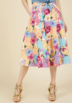 Off in My Own Whirl Midi Skirt in Blossoms in XL $59.99 thestylecure.com