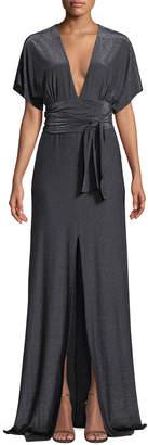 Halston Metallic Jersey Kimono Gown