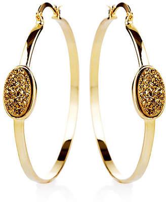 Nest 22-Kt Oval Druzy Pendant Hoop Earrings - Gold