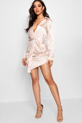 boohoo Satin Wrap Detail Dress