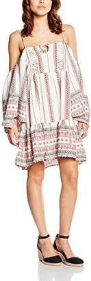 Glamorous Women's Boho Dress, (White Tribal Border), (Size:Small)