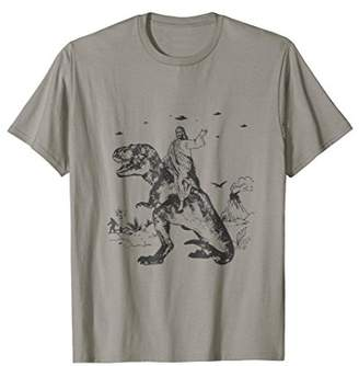 Jesus Riding On A Dinosaur T Shirt Darwin Evolution Atheist