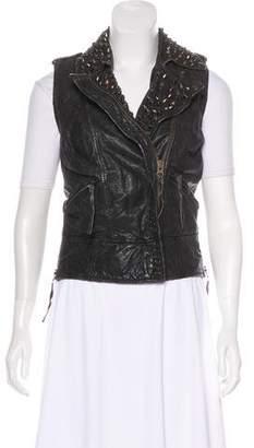 AllSaints Leather Distressed Vest