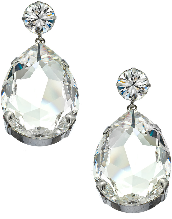 Roberta Chiarella Platinum and Clear Crystal Superstar Teardrop Earrings