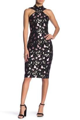 Bebe Choker Neck Bodycon Print Dress