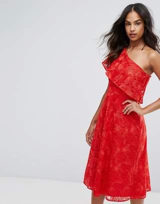 Warehouse Floral Jacquard One Shoulder Dress