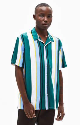 PacSun Hue Stripe Short Sleeve Button Up Shirt