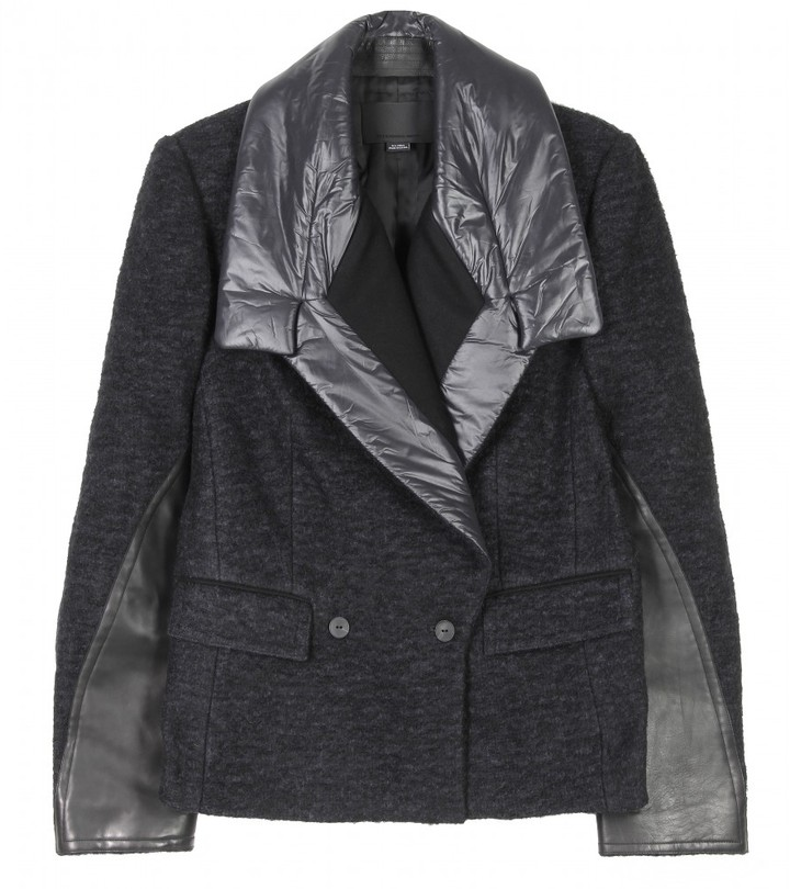Alexander Wang REEFER CROPPED JACKET WITH NYLON PEAKED LAPEL