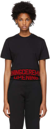 Opening Ceremony Black Elastic Logo Cropped T-Shirt