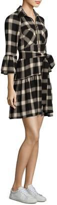 Derek Lam Women's Plaid Bell-Sleeve Shirtdress
