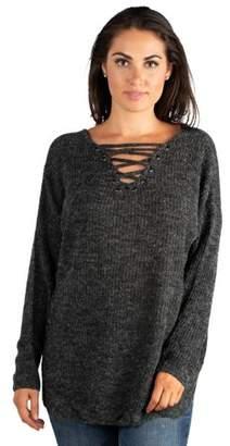 24seven Comfort Apparel Women's Criss Cross Mock Lace-Up V-neck Sweater Top