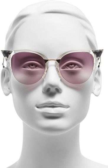 Women's Fendi Crystal 52Mm Tipped Cat Eye Sunglasses - Havana Gold Vio/ G5 5