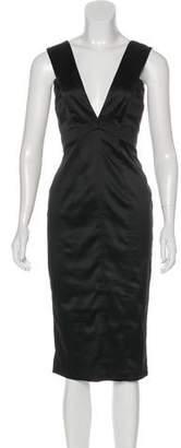Just Cavalli Sleeveless Satin Midi Dress