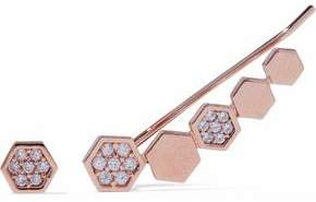 Astrid & Miyu Black Magic 18-karat Rose Gold-plated Crystal Ear Cuff And Stud Earring