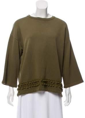 Current/Elliott Pom-Pom-Trimmed Three-Quarter Length Sleeve Sweatshirt w/ Tags