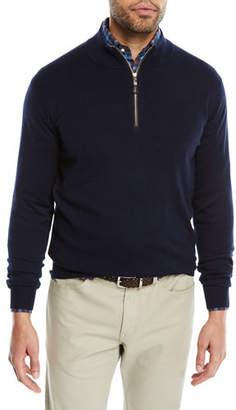 Peter Millar Men's Crown Soft Leather-Trim Half-Zip Sweater