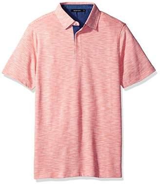 Bugatchi Men's Cotton Short Sleeve Self Collar Knit