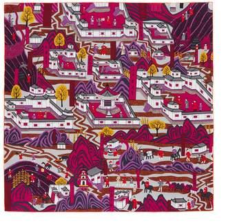 Shang Xia Wutai Mountain Painting Print Silk Scarf