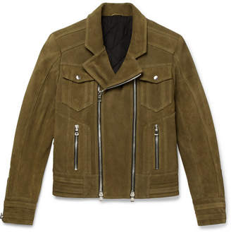Balmain Suede Biker Jacket - Men - Green