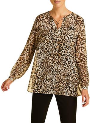 Marina Rinaldi Plus Size Fastigio Animal-Print Shirt