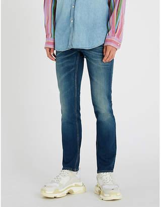 Balenciaga Mens Dark Blue Faded Slim-Fit Tapered Jeans