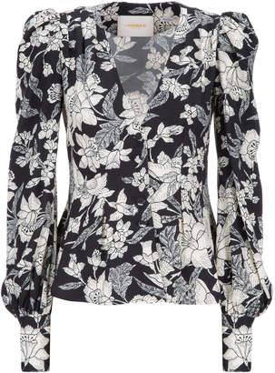 La DoubleJ Smokin' Hot Floral-Print Crepe Top