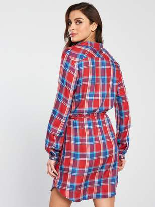 Jack Wills Hedley Checked Wrap Shirt Dress - Red