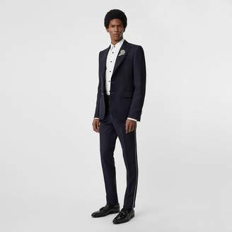 Burberry Slim Fit Bullion Stripe Wool Twill Tailored Trousers