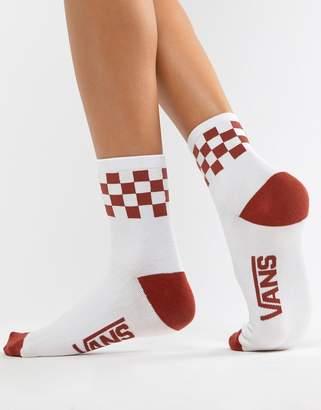 Vans Orange Checkerboard Crew Socks